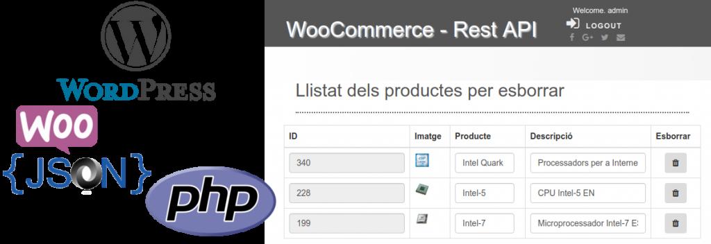 Aplicació realitzada amb el llenguatge PHP amb la llibreria WooCommerce REST API amb la tecnologia JSON